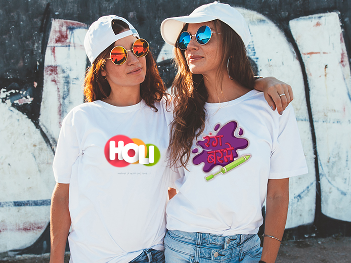 Colorful Text Printed On White T-Shirts